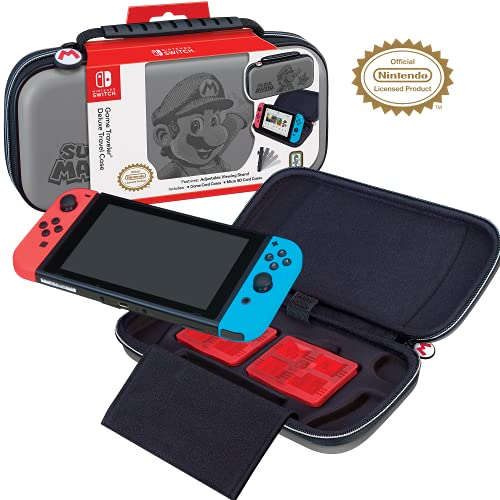 Officially Licensed Nintendo Switch Super Mario Carrying Case - Protective Deluxe Hard Shell Travel Case with Adjustable Viewing Stand - Game Case Included