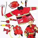 Pompiere Il gioco di ruolo Il set di costumi comprende: giacca, casco, zaino blaster, estintore, megafono, barra di leva, ascia, walkie-talkie, torcia, fischietto, badge, etichetta con nome.
