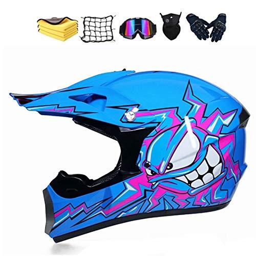 Casco de motocross para niño y adulto, integral para hombre, para BMX, MTB, Quad Enduro, ATV, Scooter, casco de Cross para niños con gafas, guantes, máscara (L, C)