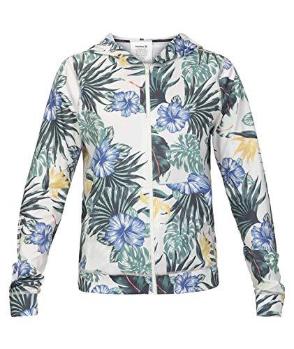 Hurley Junior's Full-Zip Long-Sleeve Hooded Hanoi Floral Rashguard, Sail, XL