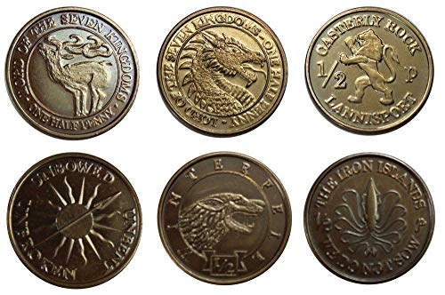 Game of Thrones Coin Set Half-Pennies of 6 Houses SPMI Replicas