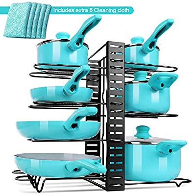 Heavy Duty Pots and Pans Organizer, multi-functional multi-layer Pot Rack, Kitchen Supplies, adjustable floor rack, three-dimensional storage?Perfect Kitchen Organizer with 5 Microfiber cloth by
