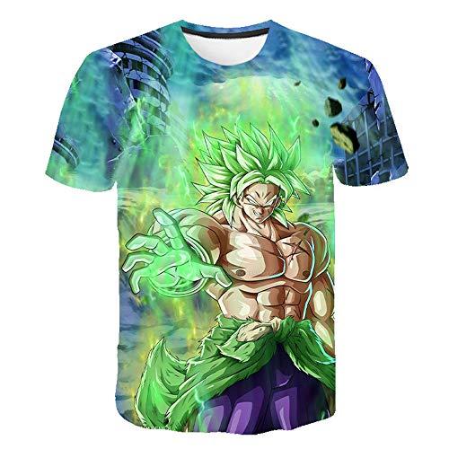 Nicoole Camiseta Anime 3D Print Dragon Ball Z Summer Fashion Hombres/Niños Anime Impreso Cartoon Manga Corta Niños Tops Streetwear,XL