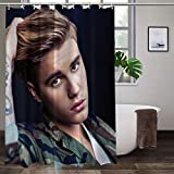 Joemary Ju_st_in B_ie_BER Waterproof Fabric Shower Curtain Hooks Bathroom Odorless Eco Friendly 70 x 70 inch