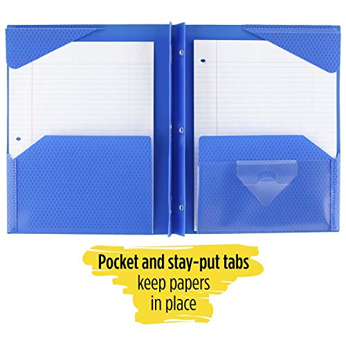 """Five Star 2-Pocket Folder, Stay-Put Folder, Plastic Colored Folders with Pockets & Prong Fasteners for 3-Ring Binders, For Home School Supplies & Home Office, 11"""" x 8-1/2"""", Blue (72115) Photo #5"""