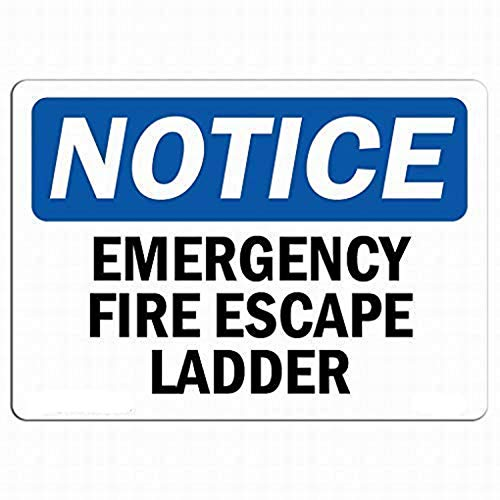 WAGSUO Metal Tin Sign Wall Decor Emergency Fire Escape Ladder for Property for Outdoor Indoor Aluminum Sign 12x16 Inch;