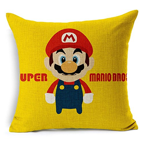 Poens Dream Cuscino, Super Mario Cotton Linen 17.7inch Square Decorative Throw Pillow Case Cushion Cover