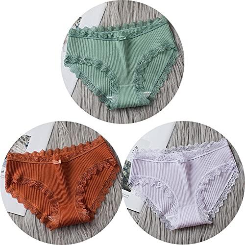 HAIBI Damen Unterhosen Panties 3 Stück Damen Baumwolle Sexy Mid Waist Höschen Nahtlos Atmungsaktiv Soft Stretch Dessous Weibliche Slips, Set 3, M.