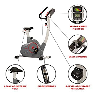Sunny Health & Fitness Stationary Upright Exercise Bike with Performance Monitor, Tablet/iPad Device Holder, 275 LB Max User Weight with Body Fat and BMI Calculator - SF-B2952