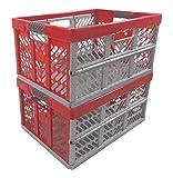 2 x Profesional - Caja plegable TÜV certficado 45 L hasta 50 kg plata / rojo caja...