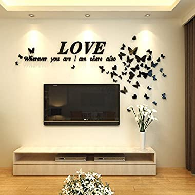 Alicemall Black Love Wall Stickers Romantic Houseful Acrylic Butterfly and LOVE Letters 3-Dimensional Wall Decals Quotes for Living Room (Black)