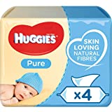 Huggies Pure Baby Wipes Quad - 99 Percent Water, Sensitive, Fragrance Free, 4 Packs, 56 Count (224 Wet Wipes Total)