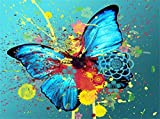Pintar por Numeros DIY Cuadro al óleo con números para Kit de Pintura al óleo Digital para Adultos y niños de Lienzo decoración para el hogar Mariposa animal colorida acuarela 40x50cm Sin Marco