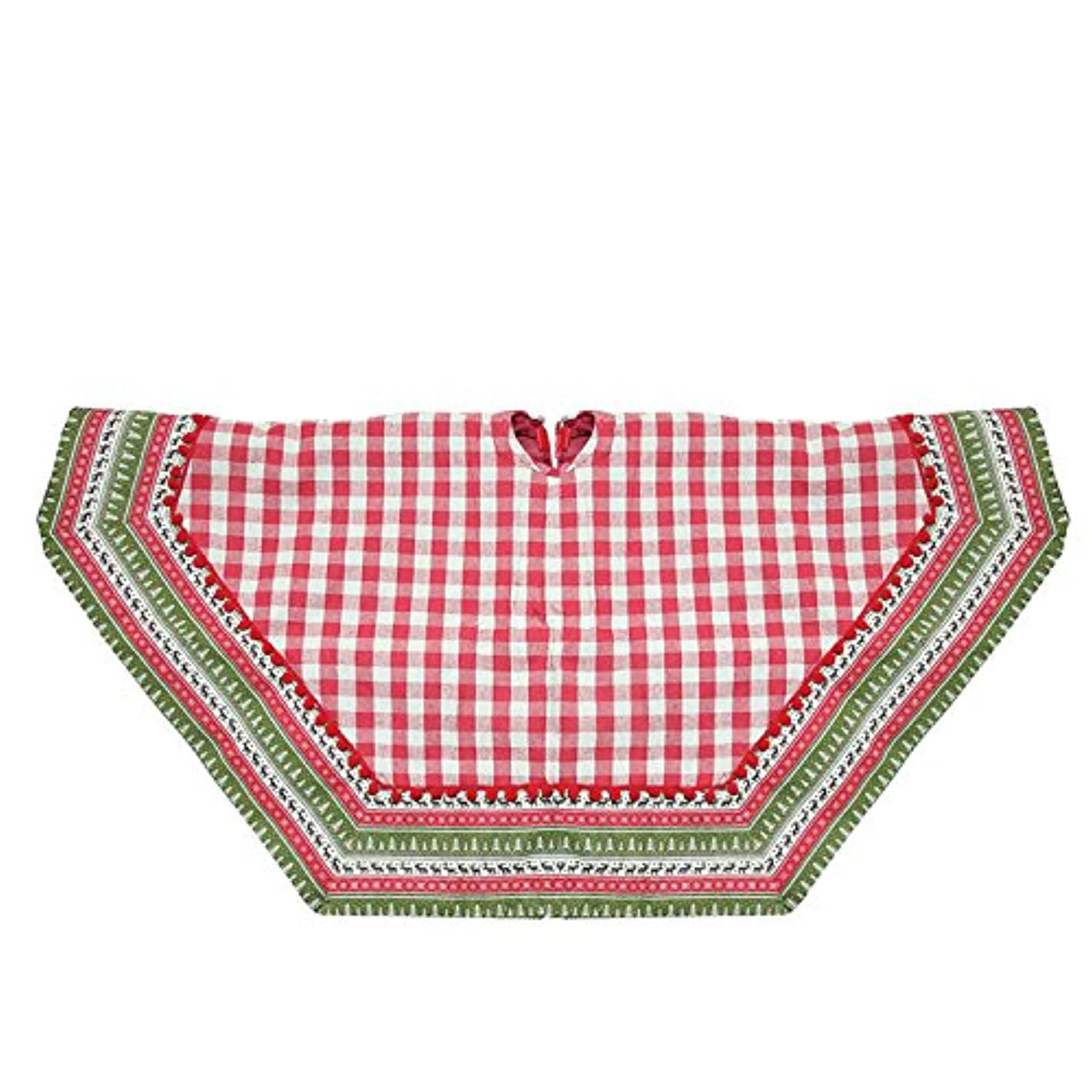 "Northlight 50"" 7-Sided Woodland Red Plaid Christmas Tree Skirt with Pom Trim and Lodge Border"