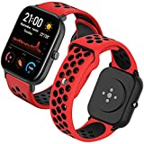 Th-some Correa para Amazfit GTS Smartwatch Reloj de Pulsera Compatible con Amazfit GTS/Amazfit Bip/Amazfit GTR 42mm Band Silicona(Rojo y negro)