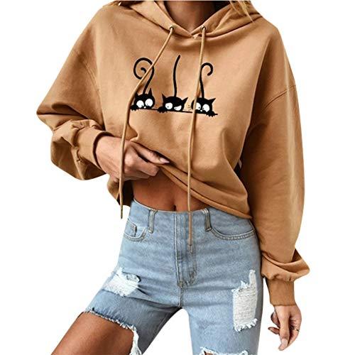 Xmiral Hooded Sweatshirts Damen Katze Drucken Kapuzenpullover Tunnelzug Bluse Tops mit Kapuze Niedlich Verbindung Pullover Hemden(Khaki,XL)
