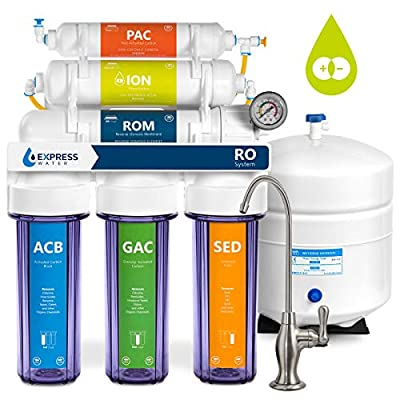Express Water Deionization Reverse Osmosis Filtration System – 6 Stage RO DI Filter with Faucet and Tank – Distilled Pure – 100 GPD with Clear Housing and Pressure Gauge – Under Sink Home Softener