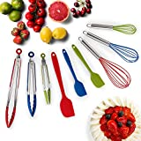 HOT TARGET Set of 9-3 Heavy Duty, Non-Stick, Silicone Tongs (12, 9, 7 inches) Plus 3 Silicone Coated...