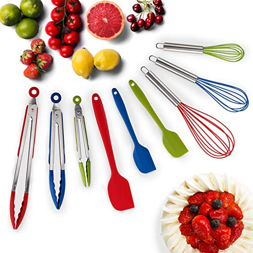 HOT TARGET Set of 9-3 Heavy Duty, Non-Stick, Silicone Tongs (12, 9, 7 inches) Plus 3 Silicone Coated Wire Whisks (11,10,8 inches) and 3 Silicone Spatulas (11,8,8 inches) (Multicolor)