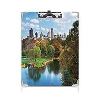 3 dパターンの クリップボード アルファベット ニューヨーク 答案用紙入れ 湖の木とマンハッタンアメリカアメリカ自然画像多色の秋のセントラルパーク