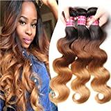 ALI JULIA Brazilian Ombre Body Wave Hair Weave 3 Bundles 10A 100% Human Hair Extensions 95-100g/pc T1b/4/27 Color (16 18 20 inch)