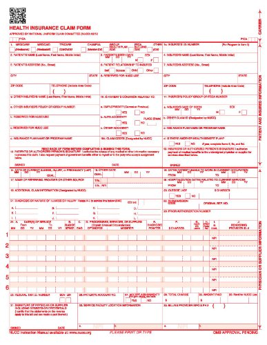 NEW CMS 1500 Claim Forms - HCFA (Version 02/12) 100 per Ream