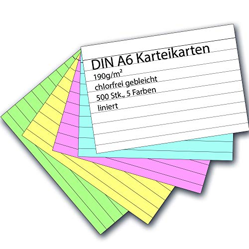 Karteikarten 500 Stück A6 farbig liniert