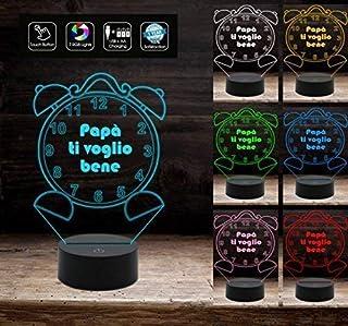 Idea Regalo originale festa del papà lampada personalizzata 7 colori led da scrivania auguri di compleanno