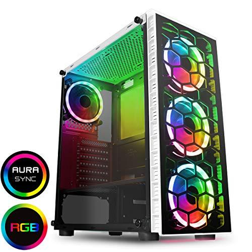 CiT Raider PC-Gaming-Gehäuse, Mid-Tower ATX Weißer RGB