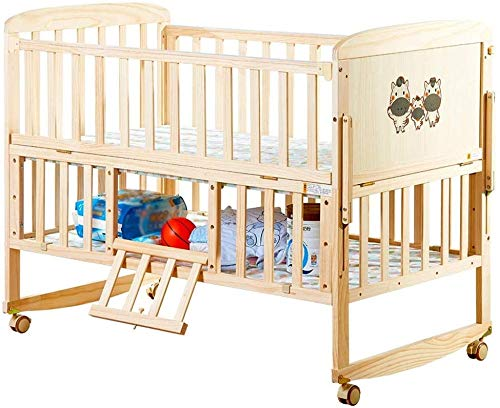 Check Out This ZXM Multifunctional Baby Cot Solid Wood Crib 2-Tier Adjustable Height Variable Desk C...