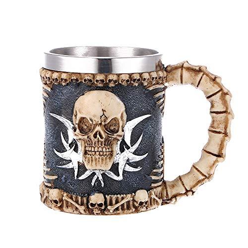 VOANZO Taza de café de calavera de metal con mango taza de cerveza de cráneo para hombres