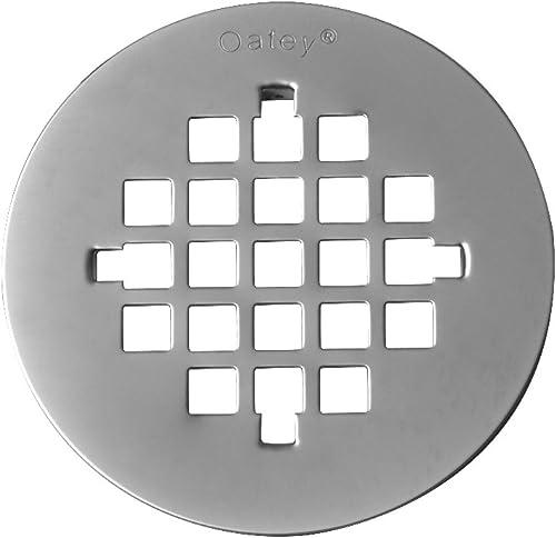 "2021 Oatey 42018 Screw-Tite Round Strainer, lowest 4-1/4 in Diameter, Stainless Steel, Brushed, 4-1/4"""", Satin popular Nickel online sale"
