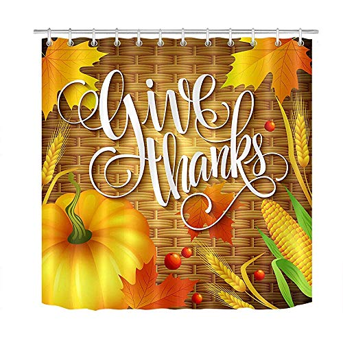 ABRAN Thanksgivg Herbst Ernte Pumpk Mais Duschvorhang Set wasserdichtes Gewebe