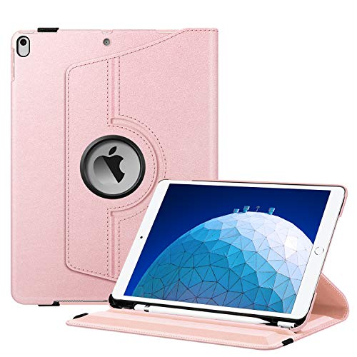 Fintie Rotating Case for iPad Air (3rd Gen) 10.5' 2019 / iPad Pro 10.5' 2017-360 Degree Rotating Stand Protective Cover with Built-in Pencil Holder, Auto Sleep/Wake (Rose Gold)