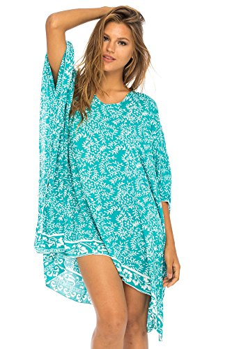 Back From Bali Womens Beach Swimsuit Cover Up Dress Caftan Floral Short Poncho Bun Tosca Green