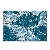 DRTWE Alfombra,Teppich,Large Size Velvet Area Rug Living Room Chic Vintage Blue Leaf Pattern Anti-Skid Soft Fluffy Shaggy Rug Nursery Carpet Bedroom Floor Pad Hallway Carpet Runner,122 * 183Cm