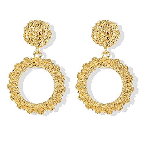 FEARRIN Pendientes Pendientes Colgantes de Diamantes de imitación Vintage para Mujer Pendientes de Oro geométricos Grandes Pendientes Colgantes para Mujer Joyería Moderna LNI1277-3