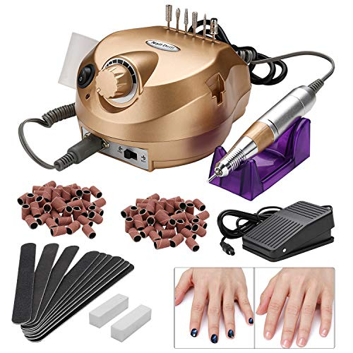 Karpal Nail Drill Portable Manicure Nail Drill,Adjustable Speed,Low Noise,Low Vibration for Acrylic Nails Gel Nails (18W Gold)