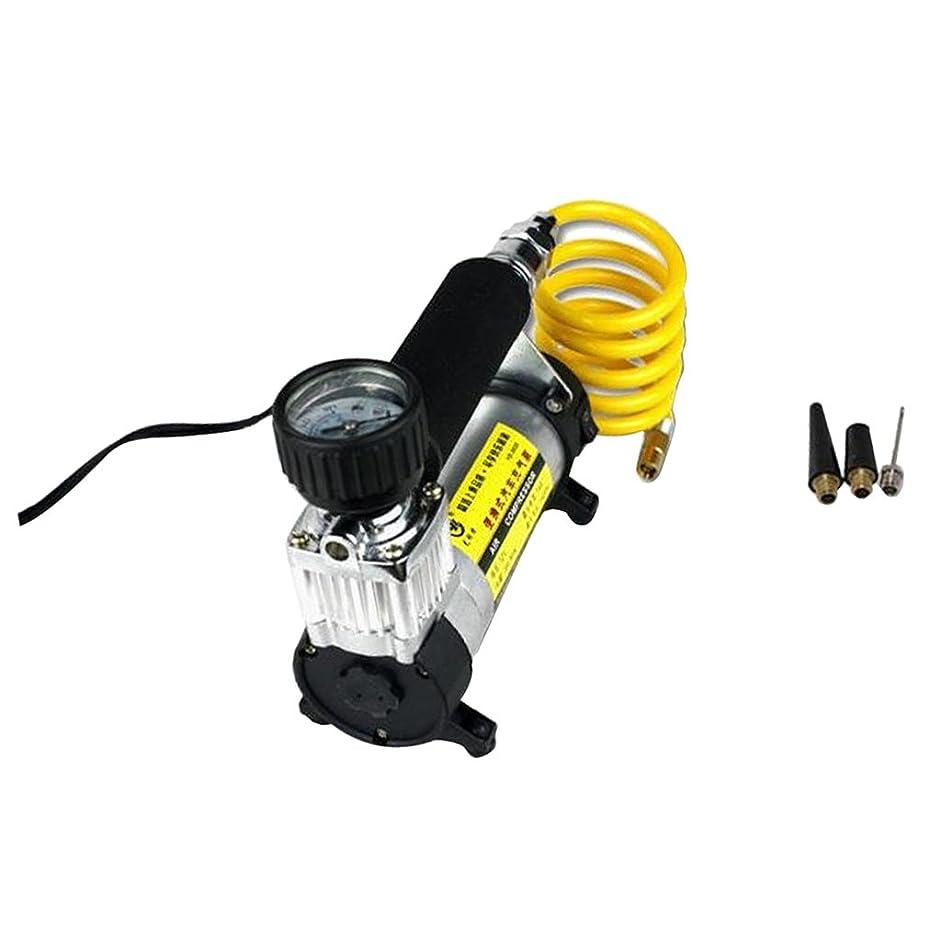 発信変化埋めるPerfk 高品質 電動エアーポンプ 空気入れ エアーコンプレッサー 自転車 車 バイク DC12V ポータブル インフレータ