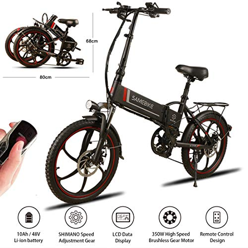 """SAMEBIKE 20"""" Aluminum Pro Smart Folding Portable Electric Bike 7 Speed Gear E-Bike,48V 10AH Lithium Battery,350W High speed brushless gear motor,USB 2.0 Charging Port,25lbs,Electric Bicycle for Adults"""