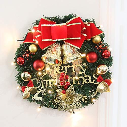 ZXPAG Kerstkrans, slingersieraad kunstkerstkransen voor voordeur muurdecoratie kerstkrans decoratie feestballen ballen rode strik -