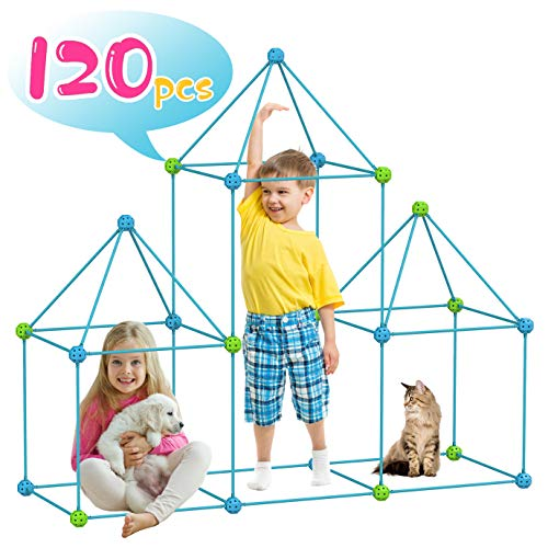 KITEOAGE Fort Construction Toys for Children Educational Toys Construction Kit Gift for Boys and Girls Fort Building Kits Construction Toys with 120 Pieces