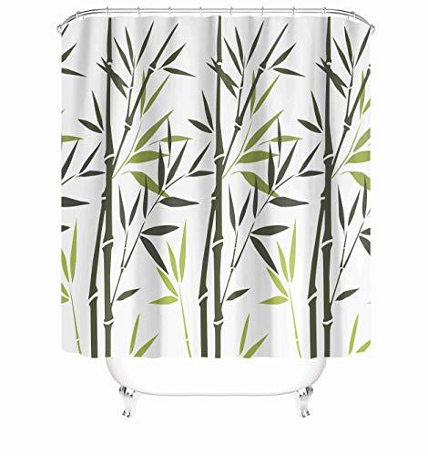 "Taysta Fabric Waterproof Shower Curtain Curtains with Hooks Eative Minimalist Green Bamboo White 72""X72"" Decor Creative Home Decorative Bathroom"