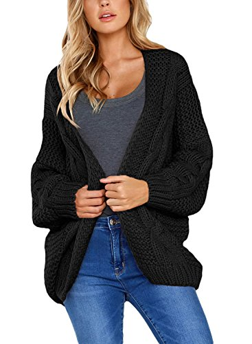 Aleumdr Strickjacke Damen Grobstrick Strickmantel strickcardigan Damen Herbst Winter Casual Open Front Sweater Cardigan Cover Up Patchwork Outwear ,Schwarz,S
