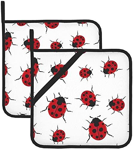 Ladybug - Juego de guantes de cocina para horno para cocina y mesa