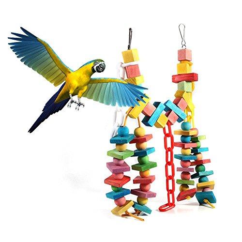 Vogelspeelgoed papegaai vogels papegaai kauwspeelgoed kleurrijk natuurlijk hout geblokkeerd vogel hangend schommelspeelgoed voor vogels Nymphensittich Ara Afrikaans