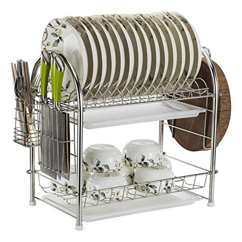 Drain Rack Stainless Steel 2 Tier afdruiprek afdruiprek lekbak en het uitlekken Bestek Holder Geschikt for Home and Kitchen bowl rack