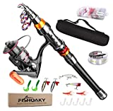 FISHOAKY Kit Canna da Pesca Spinning, 2.1M Fibra di Carbonio Canne Pesca...