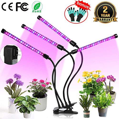 Upgraded Grow Light, 4 Heads 72pcs LEDs Plant Light for Indoor Plants, Auto ON/Off Full Spectrum Plant Grow Light, 4/8/12H Timer 5 Dimmable Levels Growing Lamp for Garden Seedling Herbs Succulents