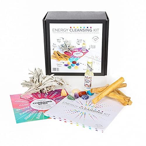 Kit de limpieza de energía de Jiri & Friends, salvia blanca y palo, santo y concha de abulón, comercio justo, juego de incienso con aroma a agua
